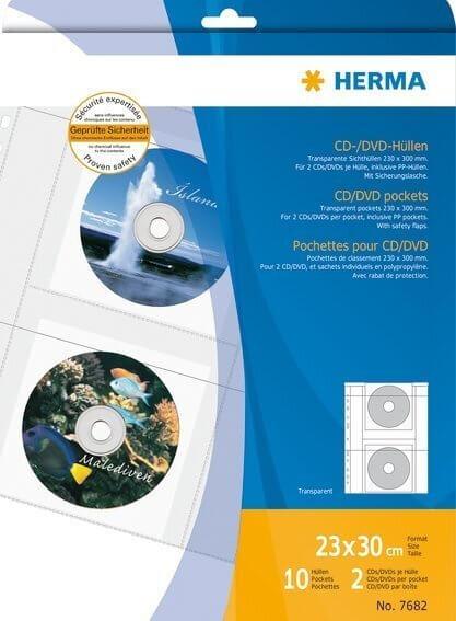 HERMA 7682 CD/DVD-Hüllen transparente Folie inkl. Papierhüllen 10 Stück