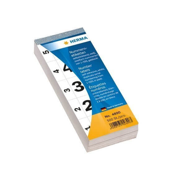 HERMA 4890 Nummernblock selbstklebend 1-500 weiß 28x56 mm