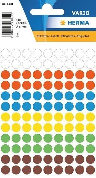 HERMA 1831 Vielzwecketiketten Ø 8 mm rund farbig sortiert Papier matt 5400 Stück