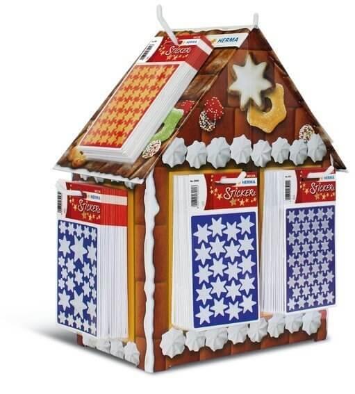 HERMA 3241 Display Sticker DECOR Lebkuchenhaus Sterne 160 Pack.