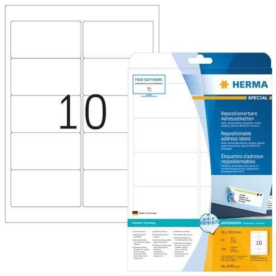 HERMA 4349 Repositionierbare Adressetiketten A4 96x508 mm weiß Movables Papier matt 250 Stück