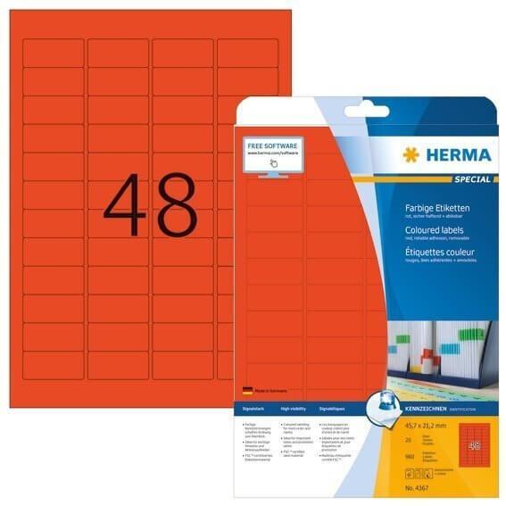 HERMA 4367 Farbige Etiketten A4 457x212 mm rot ablösbar Papier matt 960 Stück