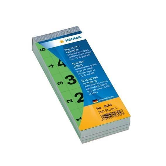 HERMA 4895 Nummernblock selbstklebend 1-500 grün 28x56 mm