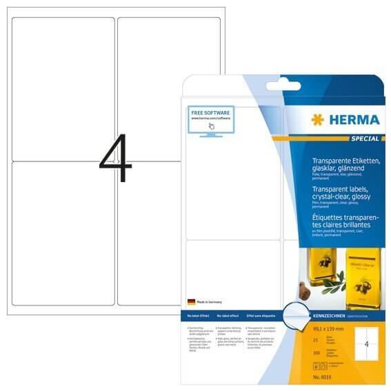 HERMA 8019 Etiketten transparent glasklar A4 991x139 mm transparent klar Folie glänzend 100 Stück