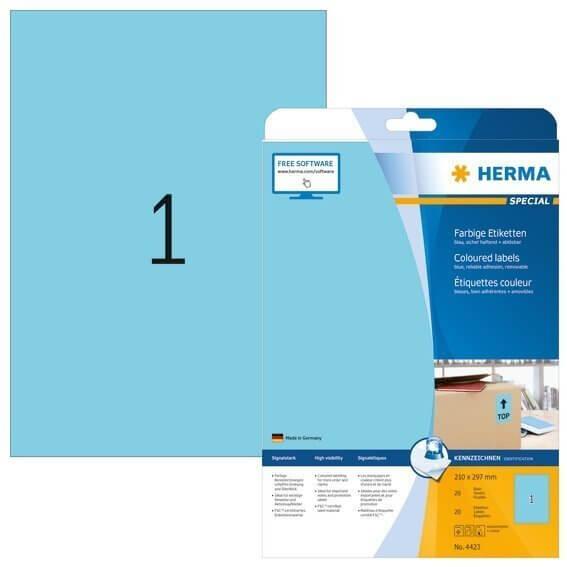 HERMA 4423 Farbige Etiketten A4 210x297 mm blau ablösbar Papier matt 20 Stück