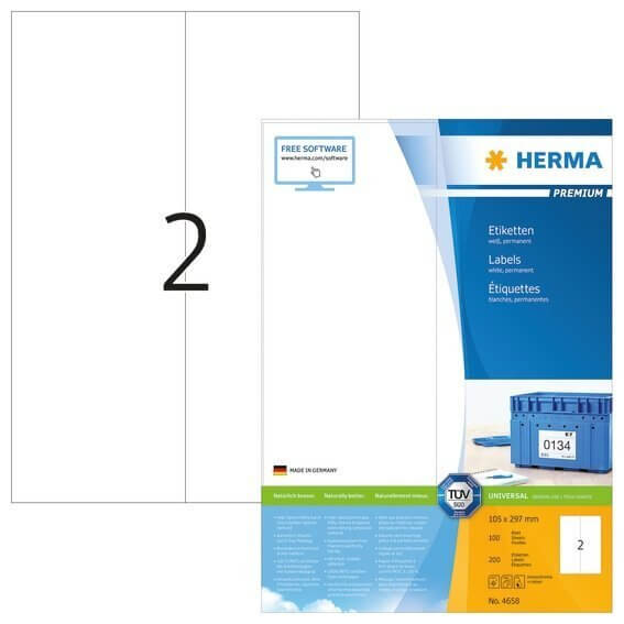 HERMA 4658 Etiketten Premium A4 105x297 mm weiß Papier matt 200 Stück