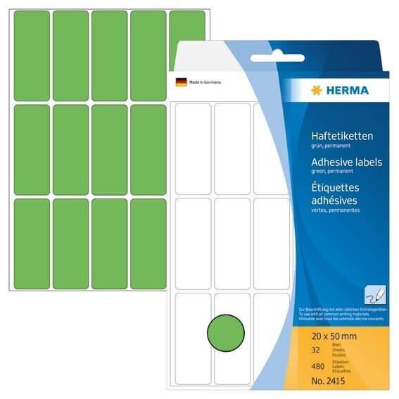 HERMA 2415 Vielzwecketiketten 20 x 50 mm Papier matt Handbeschriftung 480 Stück Grün