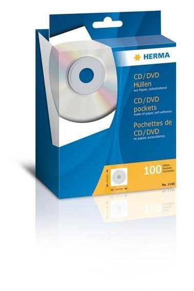 HERMA 1140 CD/DVD-Papierhüllen mit Klebefläche 100 Stück Weiß