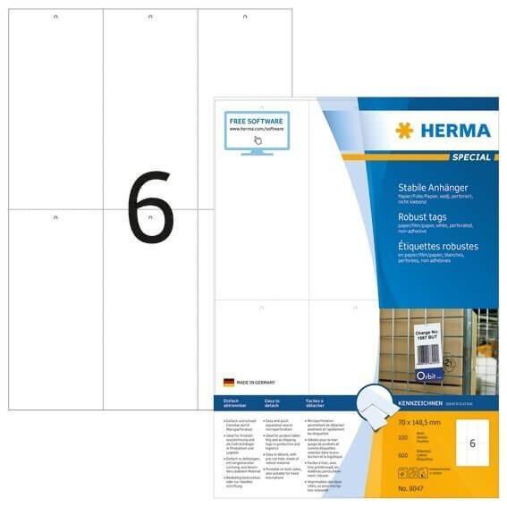 HERMA 8047 Stabile Anhänger A4 70x1485 mm weiß Papier/Folie/Papier perforiert nicht klebend 600 Stüc