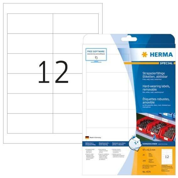 HERMA 4574 Wetterfeste Folien-Etiketten A4 970x423 mm ablösbar weiß matt strapazierfähig 240 Stück