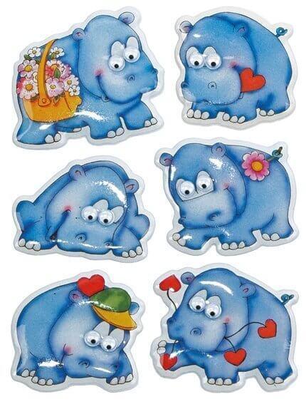 HERMA 6843 10x Sticker MAGIC Nilpferde Wackelaugen