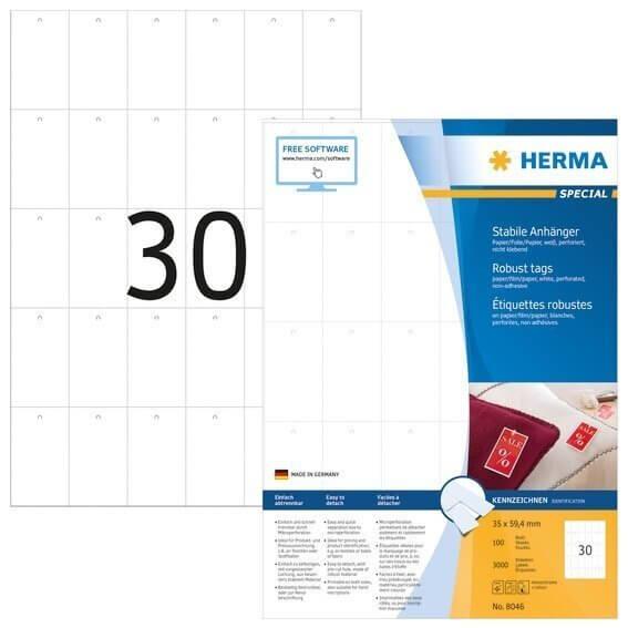 HERMA 8046 Stabile Anhänger A4 35x594 mm weiß Papier/Folie/Papier perforiert nicht klebend 3000 Stüc