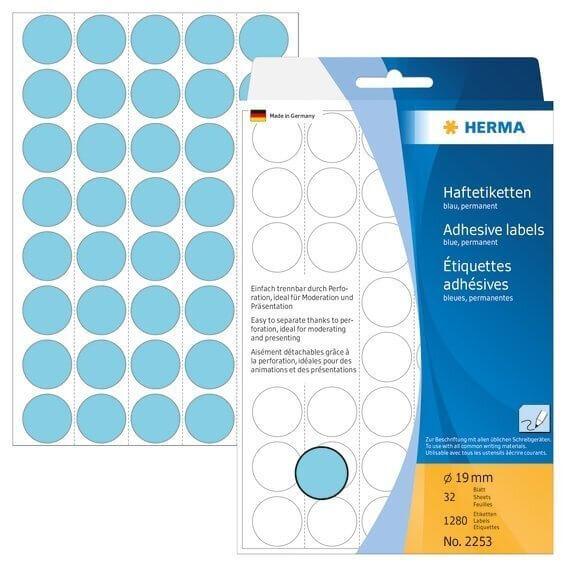 HERMA 2253 Vielzwecketiketten/Farbpunkte Ø 19 mm rund Papier matt Trägerpapier perforiert 1280 Stück