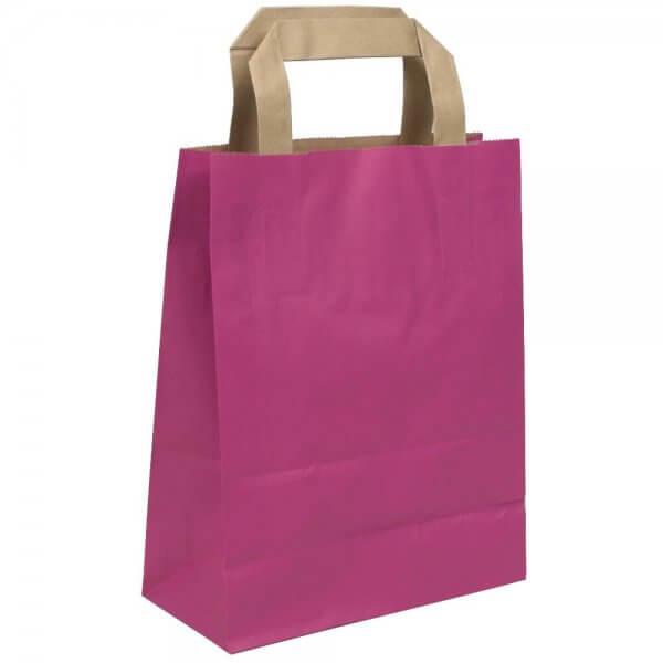 Papiertragetaschen 22 + 10 x 28 Pink