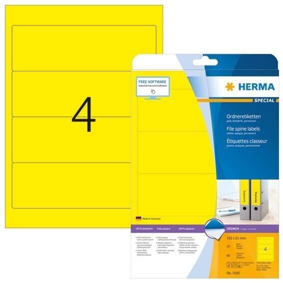 HERMA 5096 Ordneretiketten A4 192x61 mm gelb Papier matt blickdicht 80 Stück