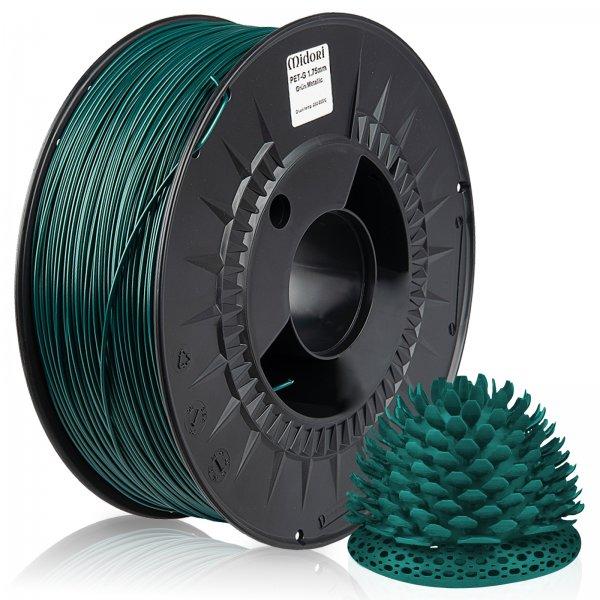 Midori® 3D PETG Filament 1,75mm 1kg Spule Grün Metallic