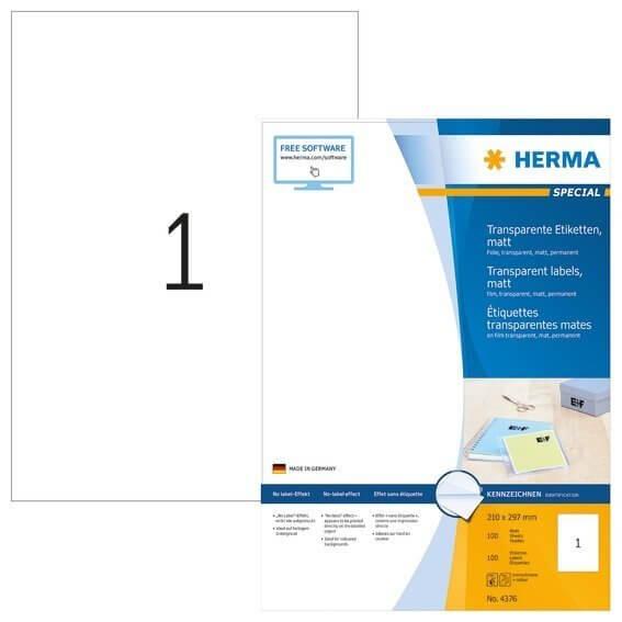 HERMA 4376 Etiketten transparent matt A4 210x297 mm Folie 100 Stück