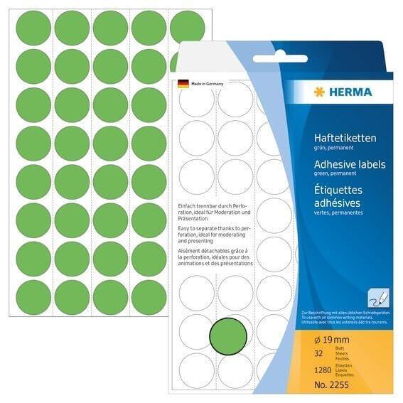 HERMA 2255 Vielzwecketiketten/Farbpunkte Ø 19 mm rund Papier matt Trägerpapier perforiert 1280 Stück