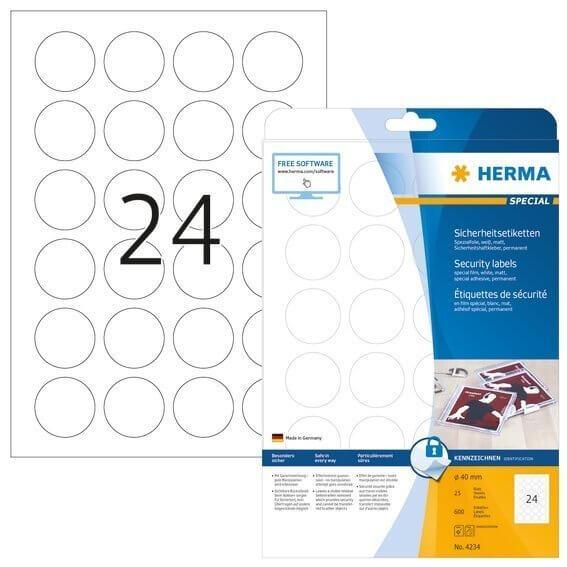 HERMA 4234 Sicherheitsetiketten A4 Ø 40 mm rund weiß extrem stark haftend Folie matt 600 Stück
