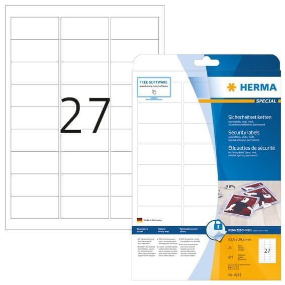 HERMA 4233 Sicherheitsetiketten A4 63,5x29,6 mm weiß extrem stark haftend Folie matt 675 Stück