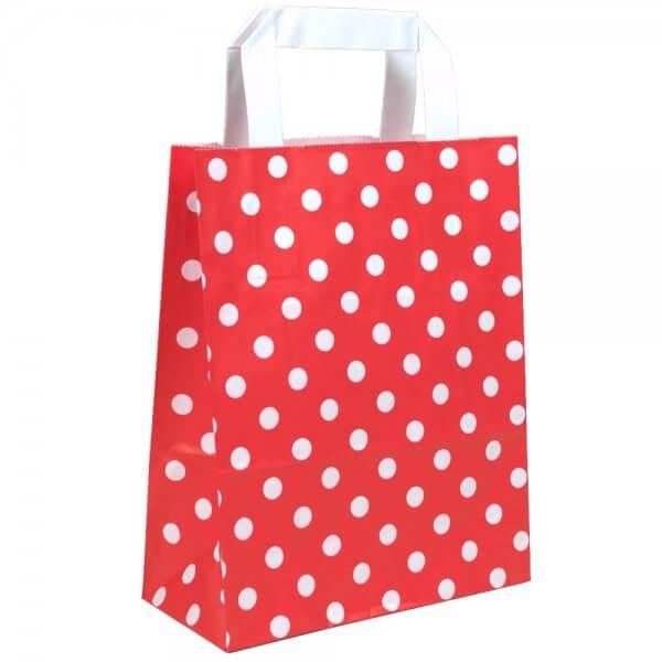 Papiertragetaschen 32 + 12 x 40 Rot gepunktet