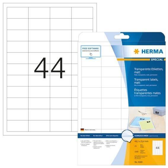 HERMA 4680 Etiketten transparent matt A4 483x254 mm Folie 1100 Stück