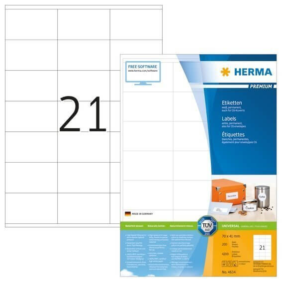 HERMA 4634 Etiketten Premium A4 70x41 mm weiß Papier matt 4200 Stück