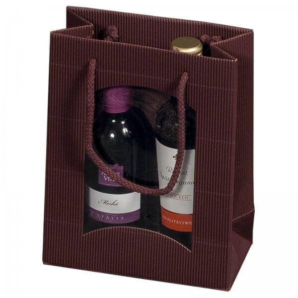 Geschenk-Flaschentasche für 2 Piccolo-Weinflaschen mit Sichtfenster Braun
