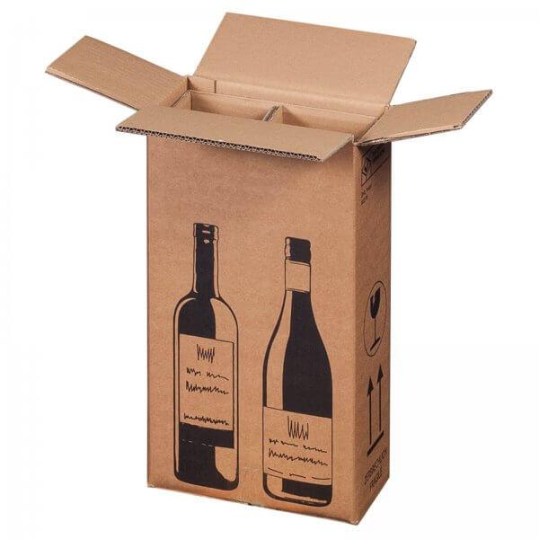 Flaschenkarton für 2 Flaschen mit PTZ-Zulassung (DHL/UPS), 204 x 108 x 368 mm
