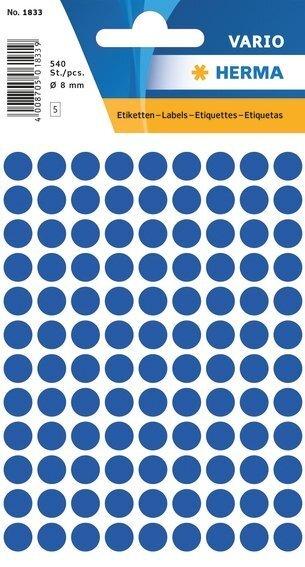 HERMA 1833 Vielzwecketiketten Ø 8 mm rund Papier matt 5400 Stück Dunkelblau