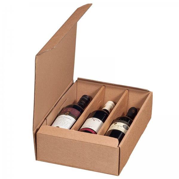 Geschenkkarton für 3 Flaschen Wein 252 x 96 x 363 mm Natur