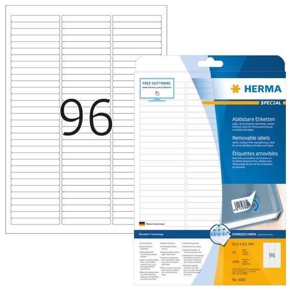 HERMA 4202 Ablösbare Etiketten A4 63,5x85 mm weiß Movables/ablösbar Papier matt 2400 Stück