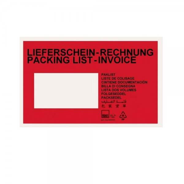 Rote Lieferscheintaschen C6 (bedruckt)