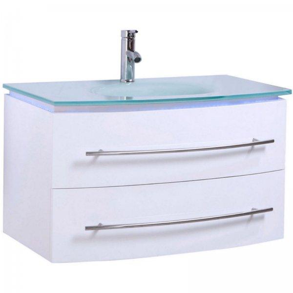 Midori Badmöbel Set Unterschrank Waschtisch Weiß Hochglanz 70 cm