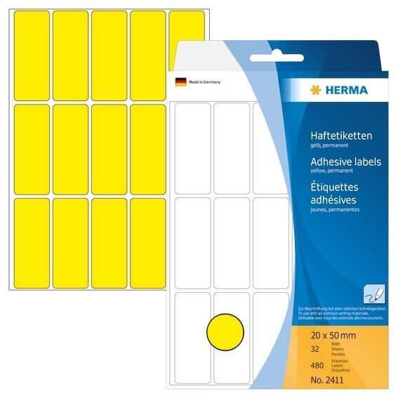 HERMA 2411 Vielzwecketiketten 20 x 50 mm Papier matt Handbeschriftung 480 Stück Gelb