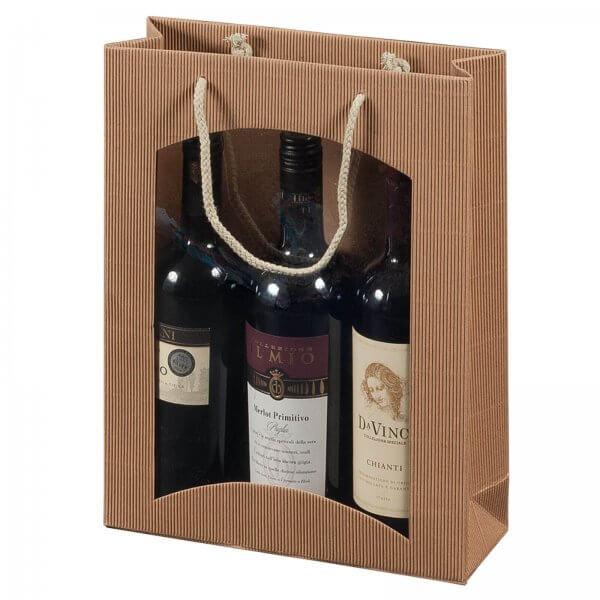 Geschenk-Flaschentasche für 3 Weinflaschen mit Sichtfenster Natur