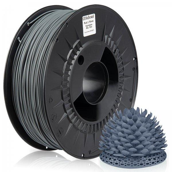 Midori® 3D PLA Filament 1,75mm 1kg Spule Signalgrau RAL7000