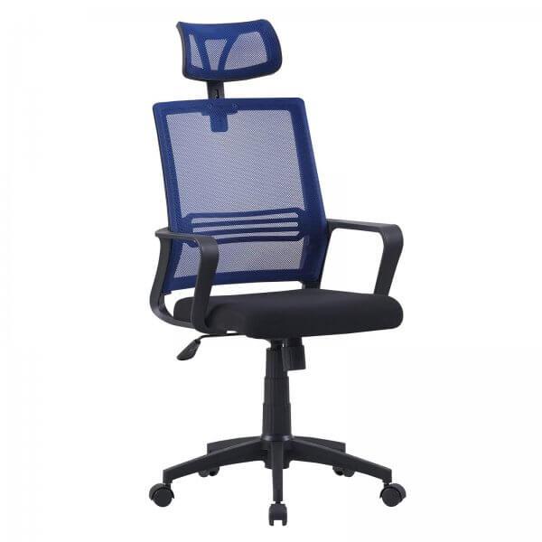 MIDORI® Bürostuhl mit Lordosenstütze Drehstuhl Bürosessel Mesh Netz Schwarz/Blau