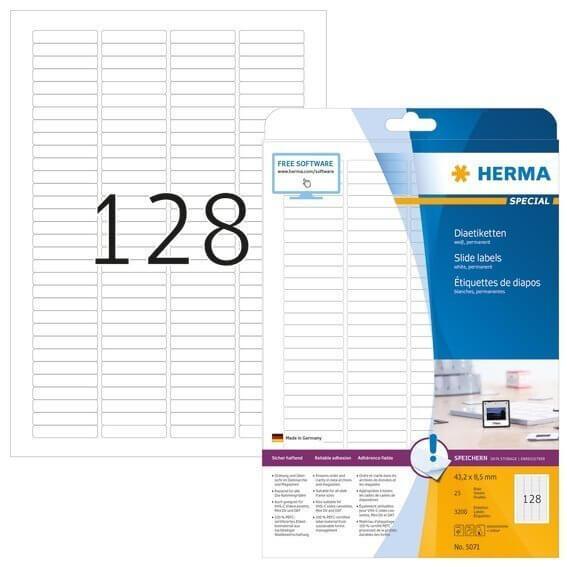 HERMA 5071 Dia-Etiketten A4 432x85 mm weiß Papier matt 3200 Stück