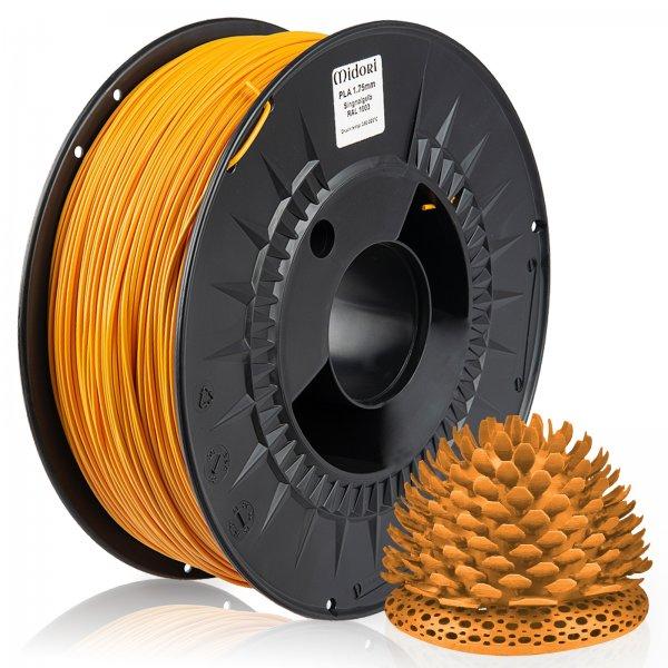 Midori® 3D PLA Filament 1,75mm 1kg Spule Signalgelb RAL1003