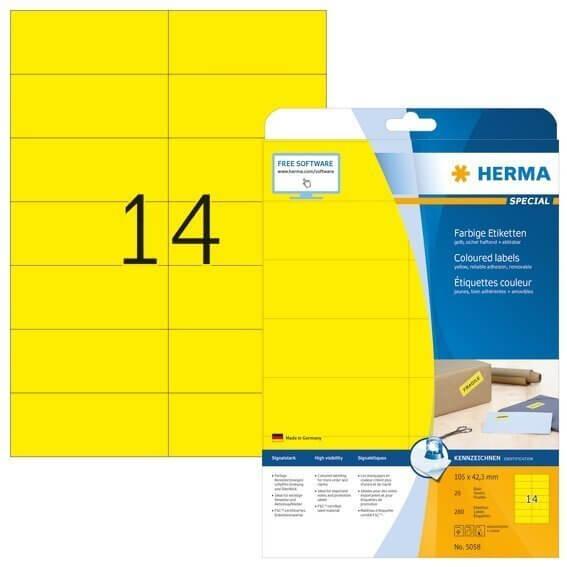 HERMA 5058 Farbige Etiketten A4 105x423 mm gelb ablösbar Papier matt 280 Stück