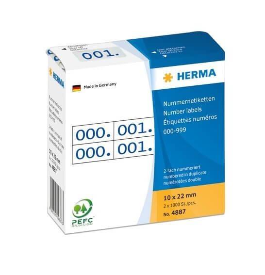 HERMA 4887 Nummernetiketten doppelt selbstklebend 10x22 mm Aufdruck blau 0-999
