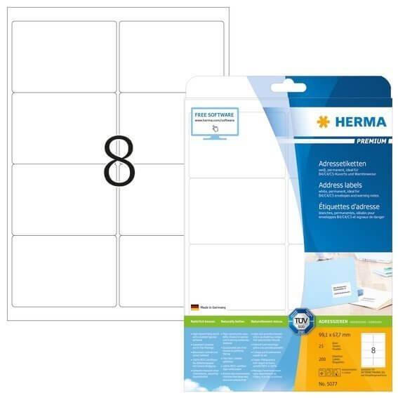 HERMA 5077 Adressetiketten Premium A4 991x677 mm weiß Papier matt 200 Stück