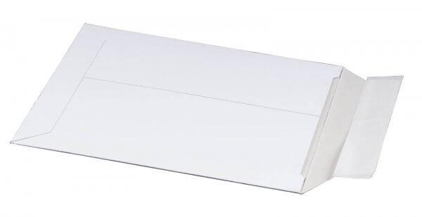 Vollpappe-Versandtasche 167 x 240 x 30 mm DIN A5 mit Aufreißfaden & Selbstklebeverschluss Weiß
