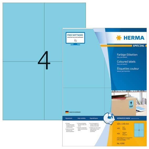 HERMA 4398 Farbige Etiketten A4 105x148 mm blau Papier matt 400 Stück
