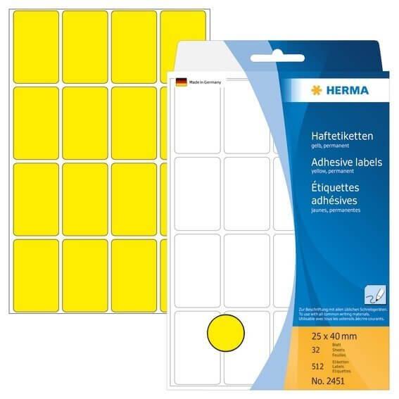 HERMA 2451 Vielzwecketiketten 25 x 40 mm Papier matt Handbeschriftung 512 Stück Gelb