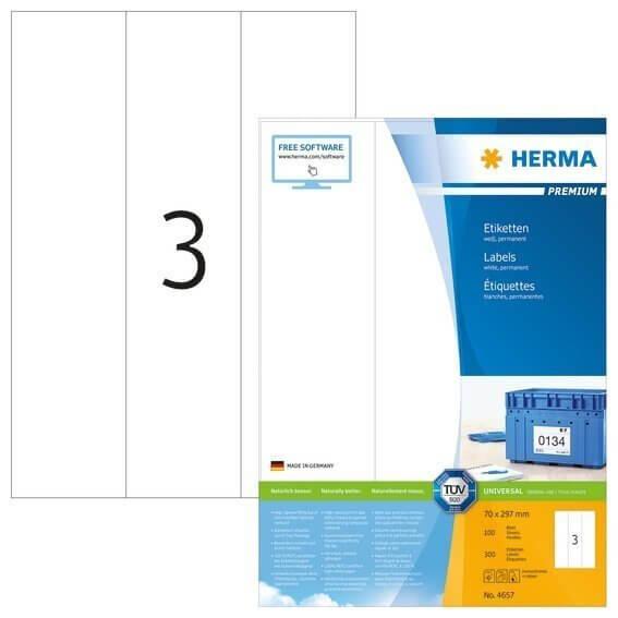 HERMA 4657 Etiketten Premium A4 70x297 mm weiß Papier matt 300 Stück
