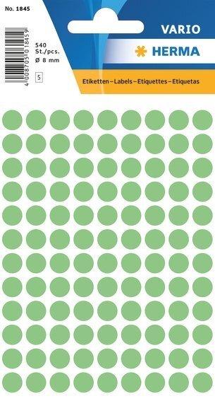 HERMA 1845 Vielzwecketiketten Ø 8 mm rund Papier matt 5400 Stück Grün