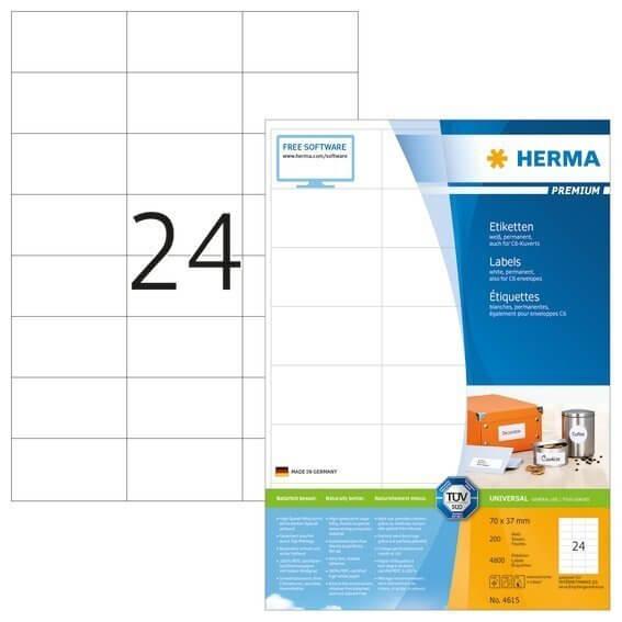 HERMA 4615 Etiketten Premium A4 70x37 mm weiß Papier matt 4800 Stück