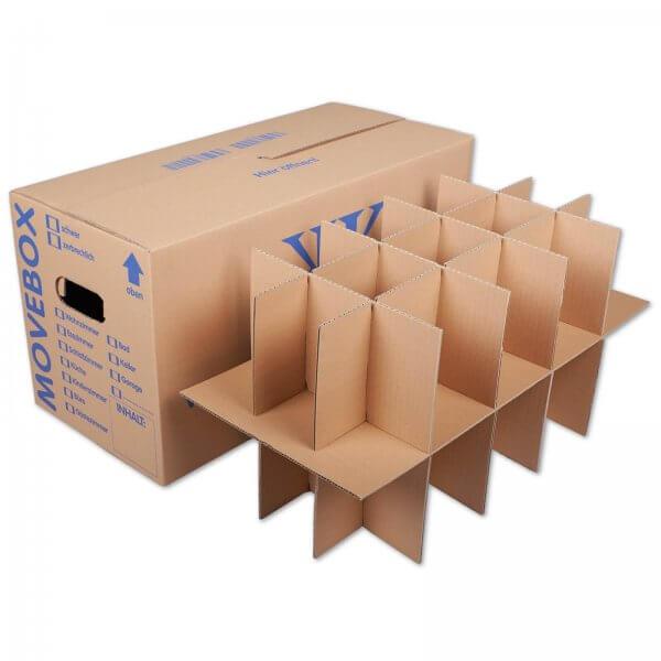 Gläserkartons Umzugskartons mit 15-30 Fächern